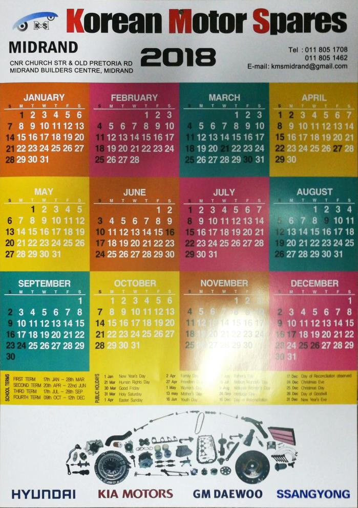 Midrand Korean Spares Calender free giveaway